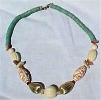 African Bead Necklace Tribal Cream Carved & Turquoise Beads Plastic Statement
