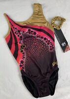 NEW Cirque Du Soleil GK Elite LEOTARD Gymnastics PINK Black Red GOLD Scrunchi AM