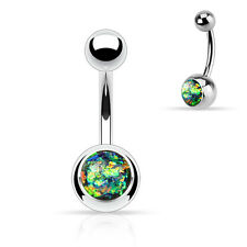 """Synthetic Opal Glitter Set 316L Surgical Steel Navel Belly Button Ring 14g 3/8"""""""