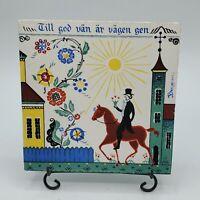 "Vintage BERGGREN TRAYNER Swedish Ceramic Tile Trivet ""Till god van"" Wall Decor"