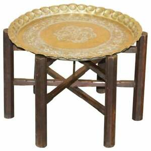 VERY RARE CIRCA 1920-1940 PERSIAN MOROCCAN BRASS TOPPED FOLDING OCCASIONAL TABLE