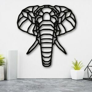 Elephant Head Geometric Wall Hanging Decoration Art Home Living Room Sign Plaque