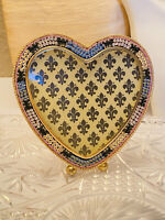 VTG Micro Mosaic Large Heart Picture Frame Italy Rare Daisies
