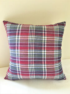 Navy Blue Burgundy Plaid Pillow Cover Yellow Plum White Red Green Throw Sofa