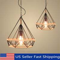 Industrial Vintage Iron Cage Hanging Ceiling Pendant Light Holder Lamp Shade US