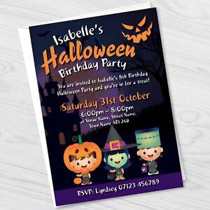 Halloween Personalised Birthday Party Invitations - Halloween Party Invites