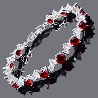Sarotta Round Cut 18K White Gold Plated CZ Topaz Red Ruby Tennis Bracelet