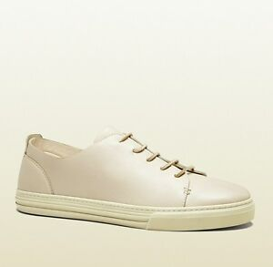 New Authentic Gucci Mens Leather Lace-up Sneaker White 342038 9022