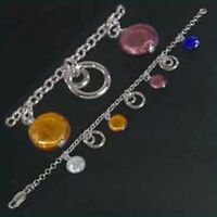 925 ECHT SILBER *** Multicolor Armband Armkette 20 cm