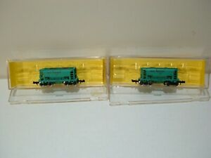 Atlas  set of 2 ore cars    Great Northern    (green)    N-scale