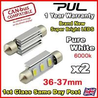 2x 36mm ERROR FREE CANBUS Pure White 3 SMD LED 239 272 C5W NUMBER PLATE BULB