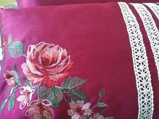 A New Superior Quality Set Of Deep Red Bed Cushions Floral Design +  Lace    ...