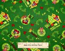 Disney Winnie The Pooh Piglet Tigger Merry Christmas Green Cotton Fabric YARD
