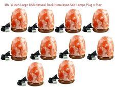 4 Inch Large USB Natural Rock Himalayan Salt Lamps Plug n Play x10 lamps
