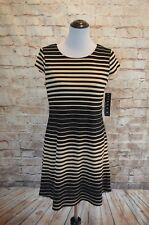 Modcloth Adorning Afternoon &Evening Shift Dress NWT 8 fits 10 black/tan stripe