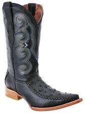 Men's White Diamonds Ostrich Print Cowboy Boots 3X Pointy Toe Stitched Vamp