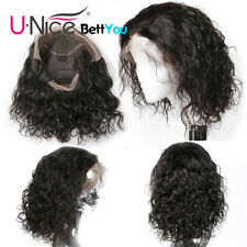 UNice Lace Front Human Hair Wigs Pre Plucked Brazilian Water Wave Bob Wigs 8Inch