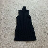 J Crew J6309 Womens Black Sleeveless Turtleneck Sweater Ribbed Stretch Fitted XS