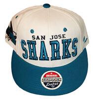 San Jose Sharks NHL Zephyr Original Snap Back Adjustable Hat White & Turquoise