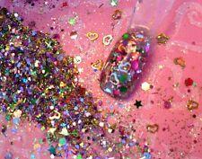 glitter mix acrylic gel nail art  ROSIE GOLD VALENTINE