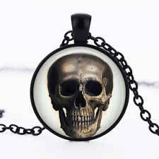 Day of the Dead Skull photo dome Black Cabochon Glass Necklace chain Pendant