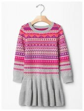 NWT Baby Gap 18-24m Fair isle drop-waist sweater dress holiday pink purple gray