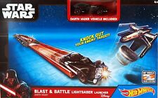 Hot Wheels Star Wars Blast & Battle Lightsaber Launcher w/ Darth Vader Car - NEW