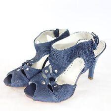 Tentazione ITALIE ESCARPINS Sandalette Cuir Bleu Reptil 36 NP 249 NEUF