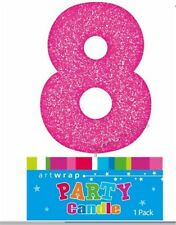 CAKE CANDLE NUMBER 8 GLITTER PINK 8TH BIRTHDAY PARTY GIRL EIGHT 18TH 80TH TOPPER
