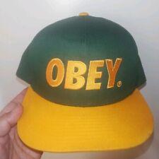 Obey Propaganda Men's Green Yellow Embroidered Logo Snapback Hat Cap euc