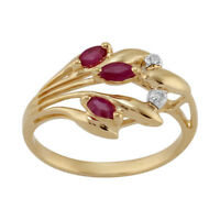 9ct Yellow Gold 0.24ct Ruby & Diamond Contemporary Floral Ring Size