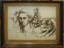 Swietlan KRACZYNA '65 Modernist Drawing of Man with Nude Woman Listed Polish