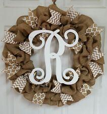 Spring Summer Burlap & White Quatrefoil & Chevron Monogram Initial Wreath