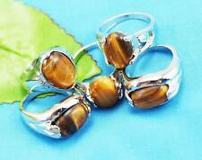 wholesale 10p Thick  Silver mixed 100% Natural Tiger's eye ring6-10