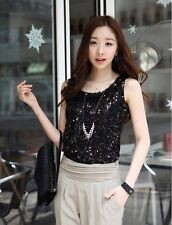 Women Ladies Shining Bling Sequin Tank Top Sleeveless T-Shirt Black