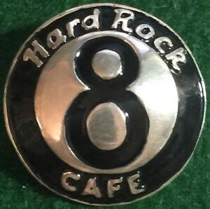 "8th Jahr Harte Rock Cafe Staff Sterlingsilber Pin 8 Ball Pool "" 8 "" Kuppel Form"