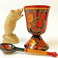 Russian Khokhloma Traditional Gold Lacquered Wood Goblet & Spoon (2pcs) Folk Art