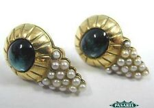 Fabulous 14k Yellow Gold Tourmaline & Pearl Earrings