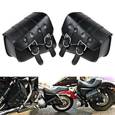 2pcs Universal Motorcycle PU Leather Side Bag Saddle Bags Black For Harley Honda