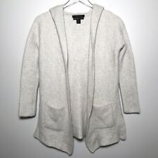 Tahari Pure Luxe 100% Cashmere Size S Hooded Open Front Ribbed Cardigan Sweater