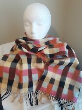 D&Y Softer Than Cashmere super soft acrylic scarf with fringe Multi Check plaid