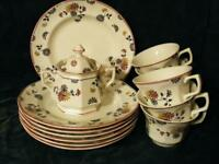 14 PC SET ADAMS VERMONT RED TRIM ENGLISH IRONSTONE SALAD PLATES, CUPS & SUGAR