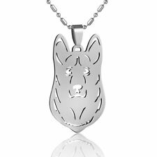 Stainless Steel Welsh Pembroke Corgi Pet Dog Collar Tag Charm Pendant Necklace