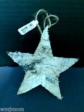 Pottery Barn BIRCH STAR Ornament CHRISTMAS Looks Like Tree Bark Holiday Gift NEW