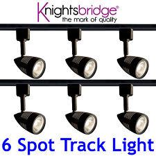 Knightsbridge éclairage sur rail Set Kit 6x Spot GU10 LED Spot Luimière Noire 3m