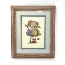 Vtg Finished Needlepoint Embroidery Framed Wall Girl Pigtails Kissing Doll