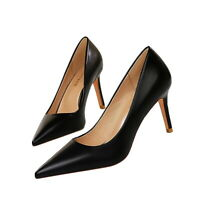 Women Classic Pumps Faux Leather Pointy Toe Stiletto High Heel Work Dress Shoes