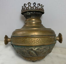 Antique Victorian Hanging Brass Oil Lamp Fuel Font And Fancy Jeweled Holder B&H