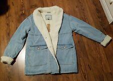 Ashley-Vintage Charm Sherpa Lined Denim  Coat Long Jacket Women's Size Large