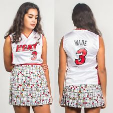 VINTAGE Miami Heat Bianco & Rosso Sport Basket NBA Jersey Canotta scollo a V 6 8